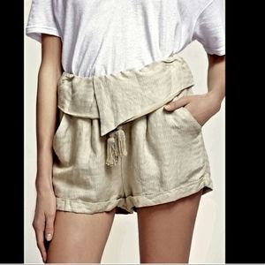 Free People Relaxed Foldover Shorts in Straw